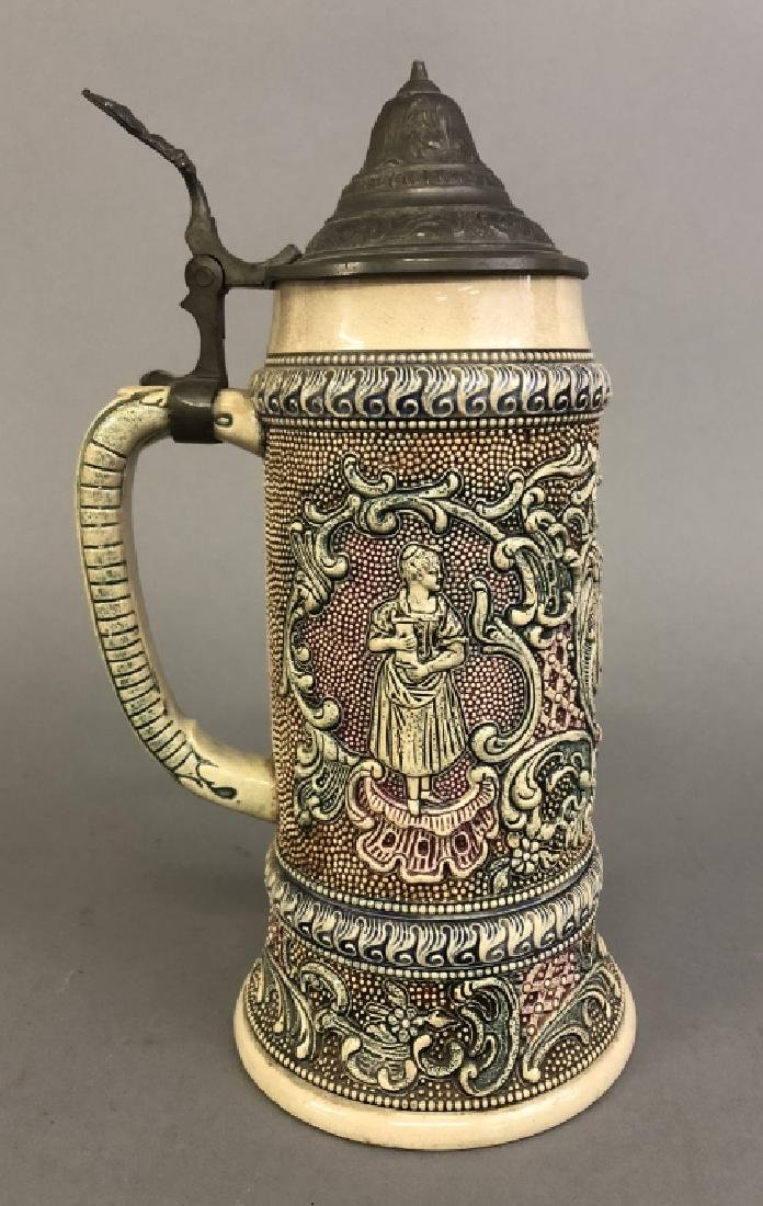 German Porcelain Stein with Pewter Lid - 3