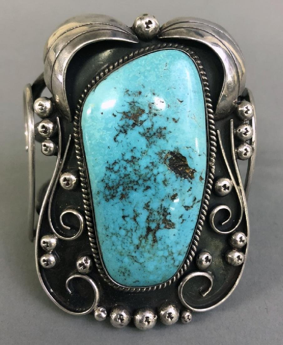 Southwestern American Turquoise & Silver Bracelet - 2