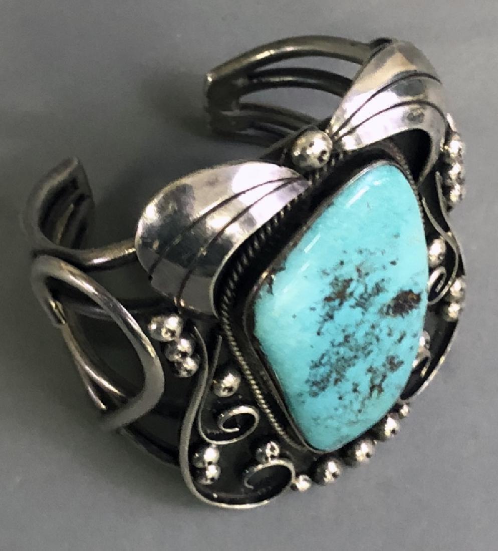 Southwestern American Turquoise & Silver Bracelet - 3
