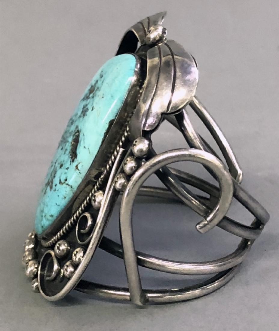 Southwestern American Turquoise & Silver Bracelet - 5