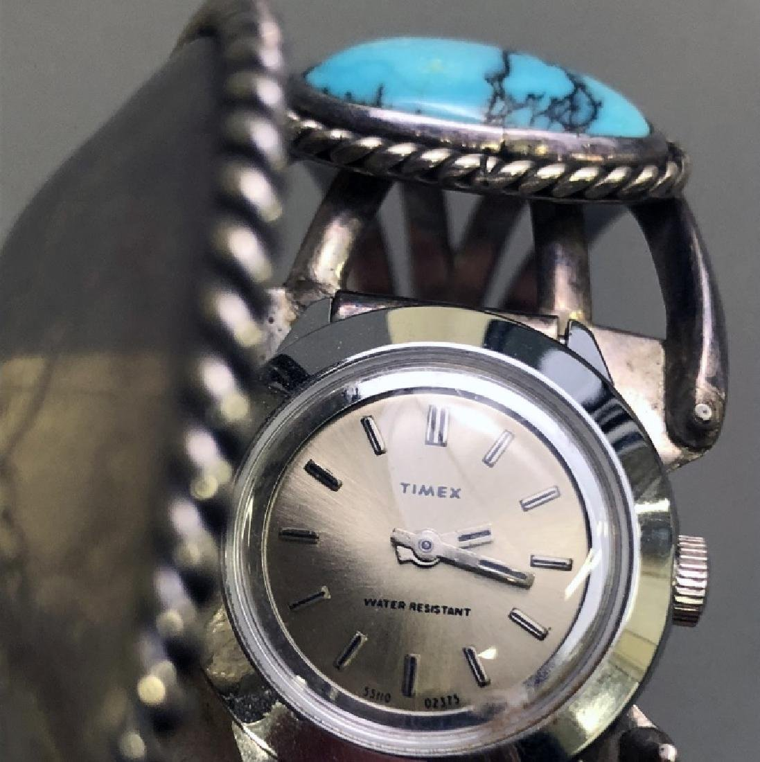 Turquoise and Silver Watch Bracelet - 4