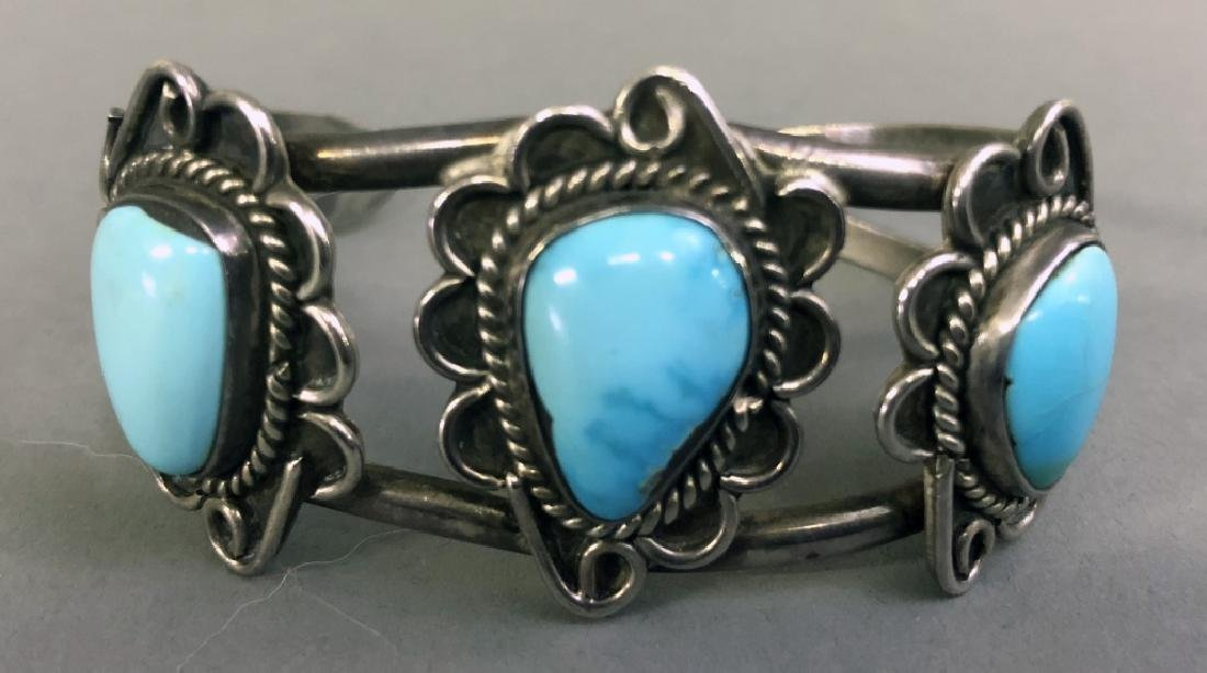 Small Silver and Turquoise Bracelet - 2