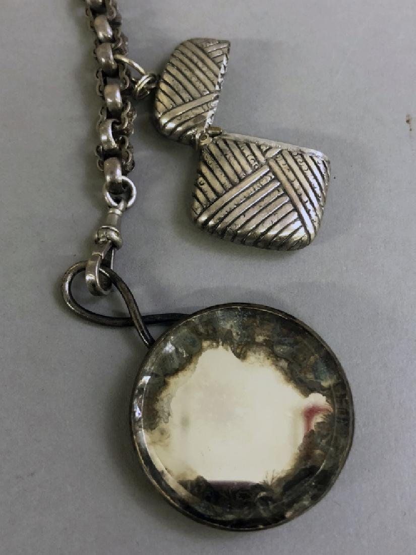 Victorian Sterling Silver Watch Chain - 4