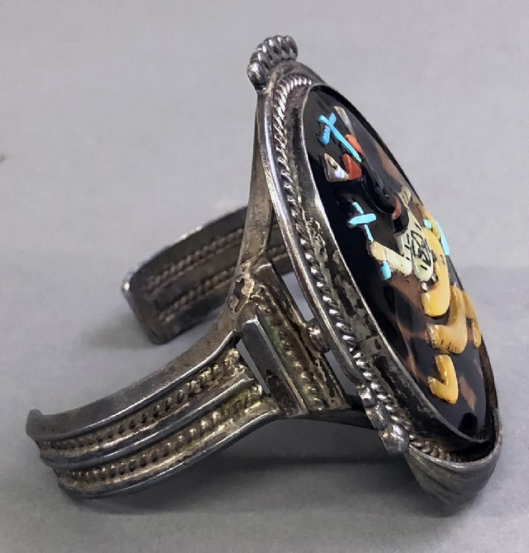 Pinto Zuni Mosaic Inlay & Silver Cuff Bracelet - 2