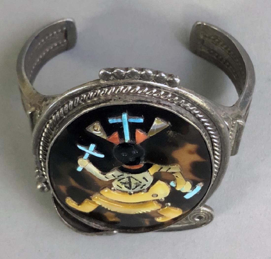 Pinto Zuni Mosaic Inlay & Silver Cuff Bracelet - 3