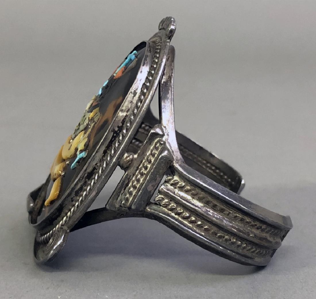 Pinto Zuni Mosaic Inlay & Silver Cuff Bracelet - 4