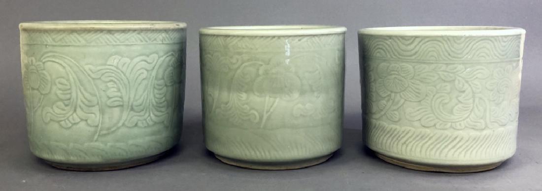 Three Asian Celadon Porcelain Planters