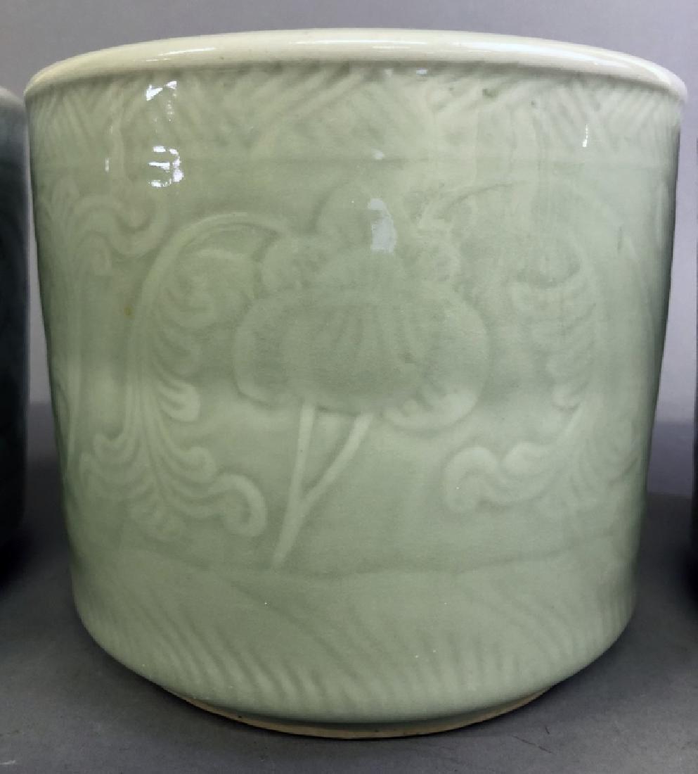 Three Asian Celadon Porcelain Planters - 3