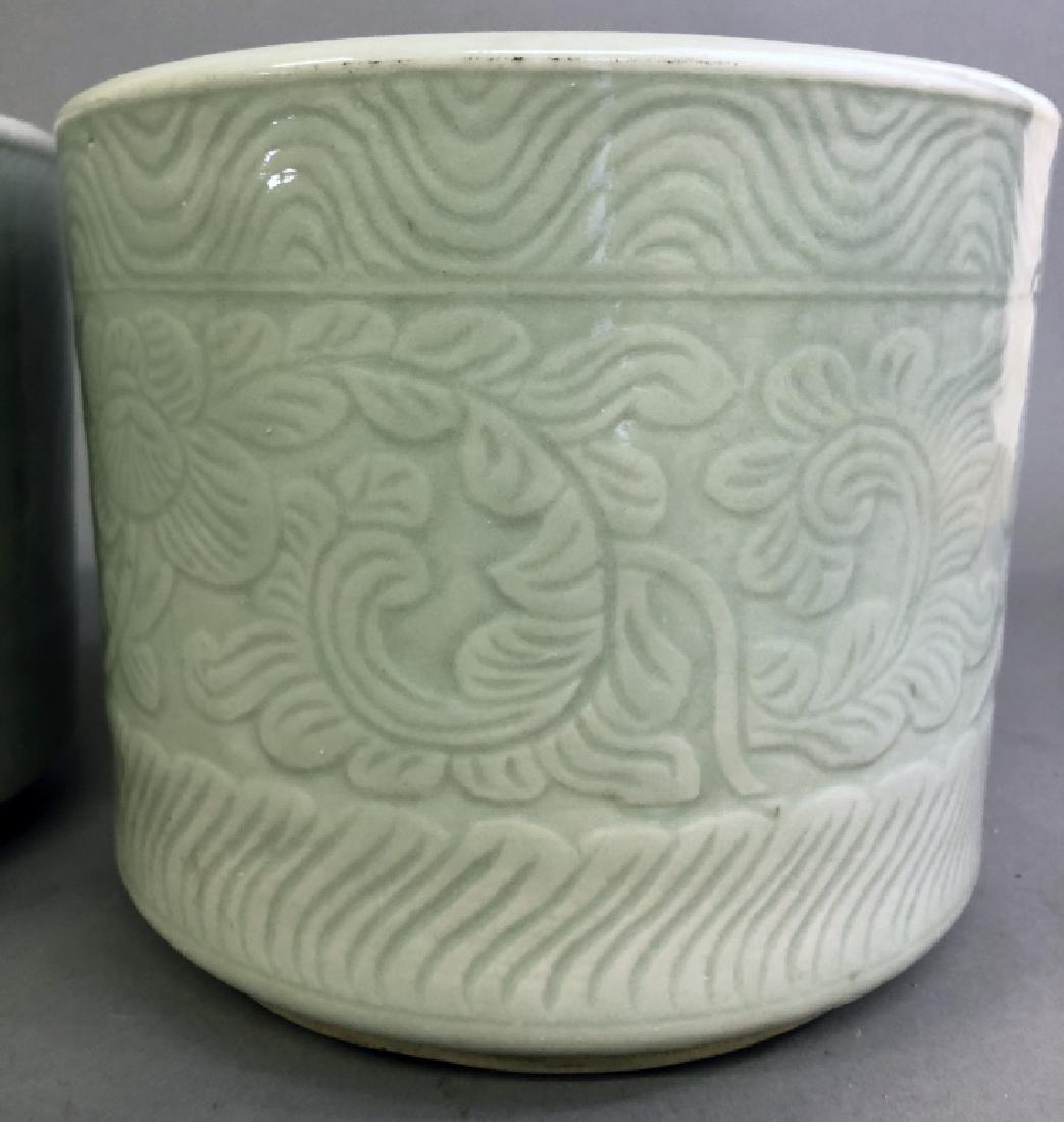 Three Asian Celadon Porcelain Planters - 4