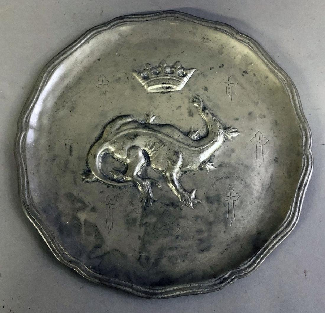 Continental Pewter Plate with Dragon and Crown