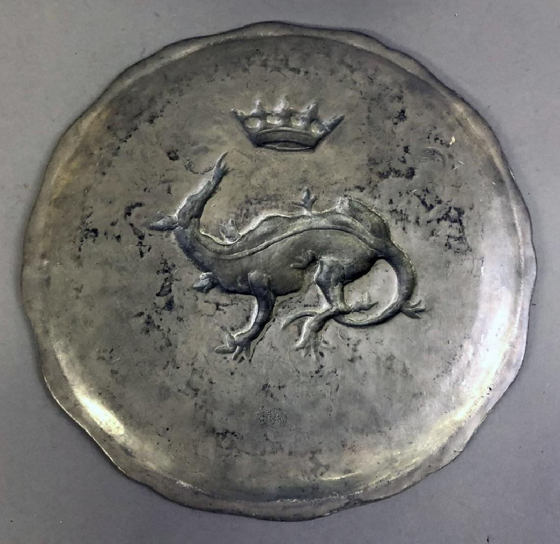 Continental Pewter Plate with Dragon and Crown - 2
