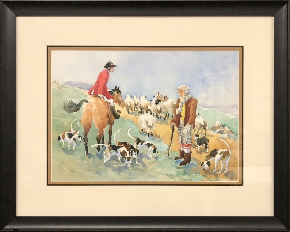 Mimi Barclay Johnson Watercolor of Fox Hunter