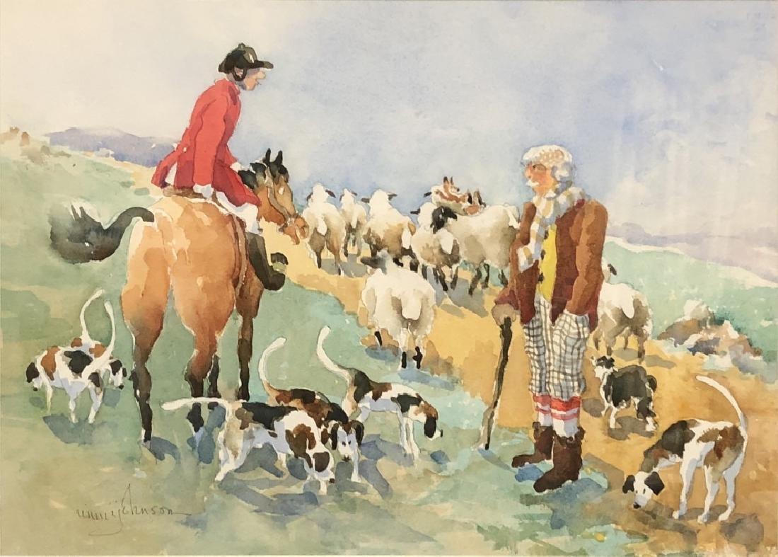 Mimi Barclay Johnson Watercolor of Fox Hunter - 2