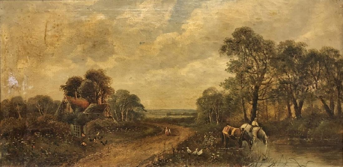 Oil on Canvas English Farm Landscape - 2