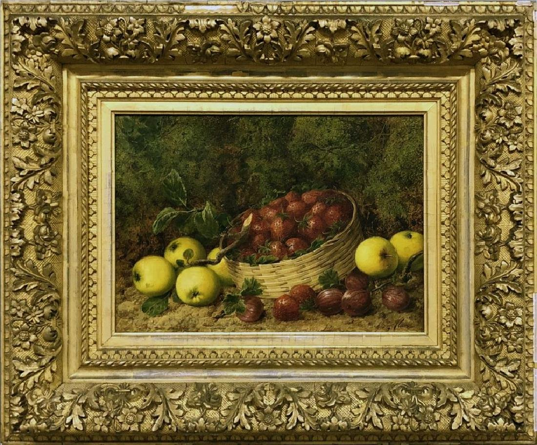 George Clare Oil on Canvas Still Life of Fruit