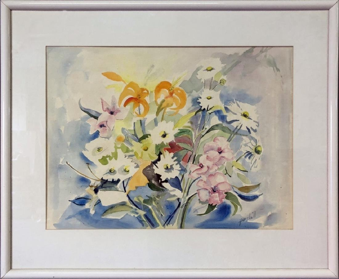 Signed Watercolor of Flowers
