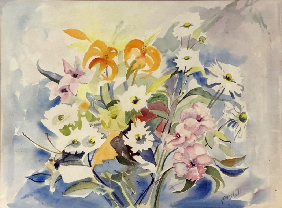 Signed Watercolor of Flowers - 2