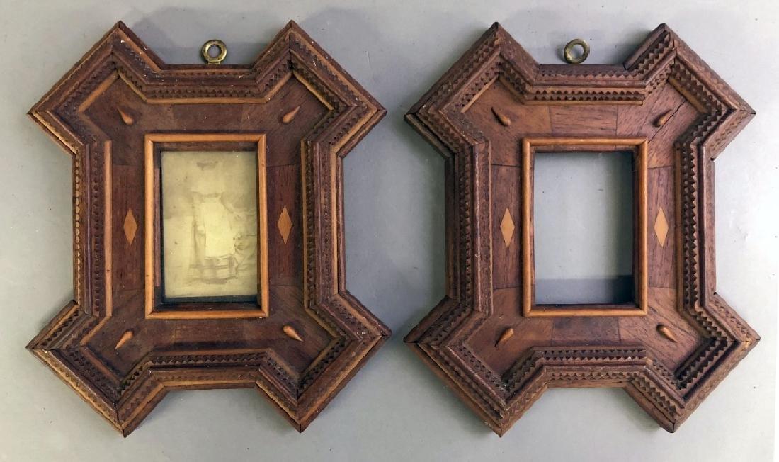 Pair of Tramp Art Chip Carved Frames