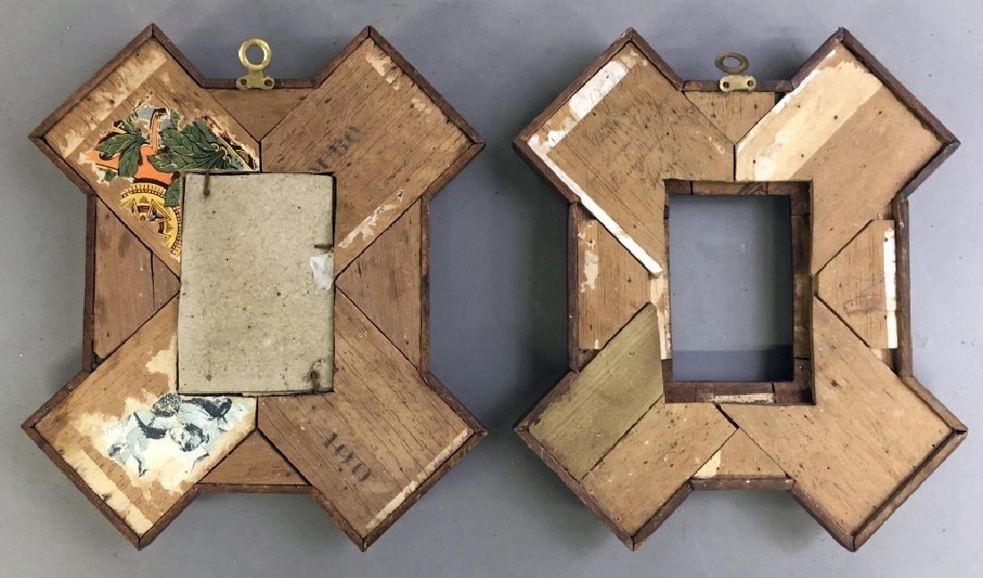 Pair of Tramp Art Chip Carved Frames - 3