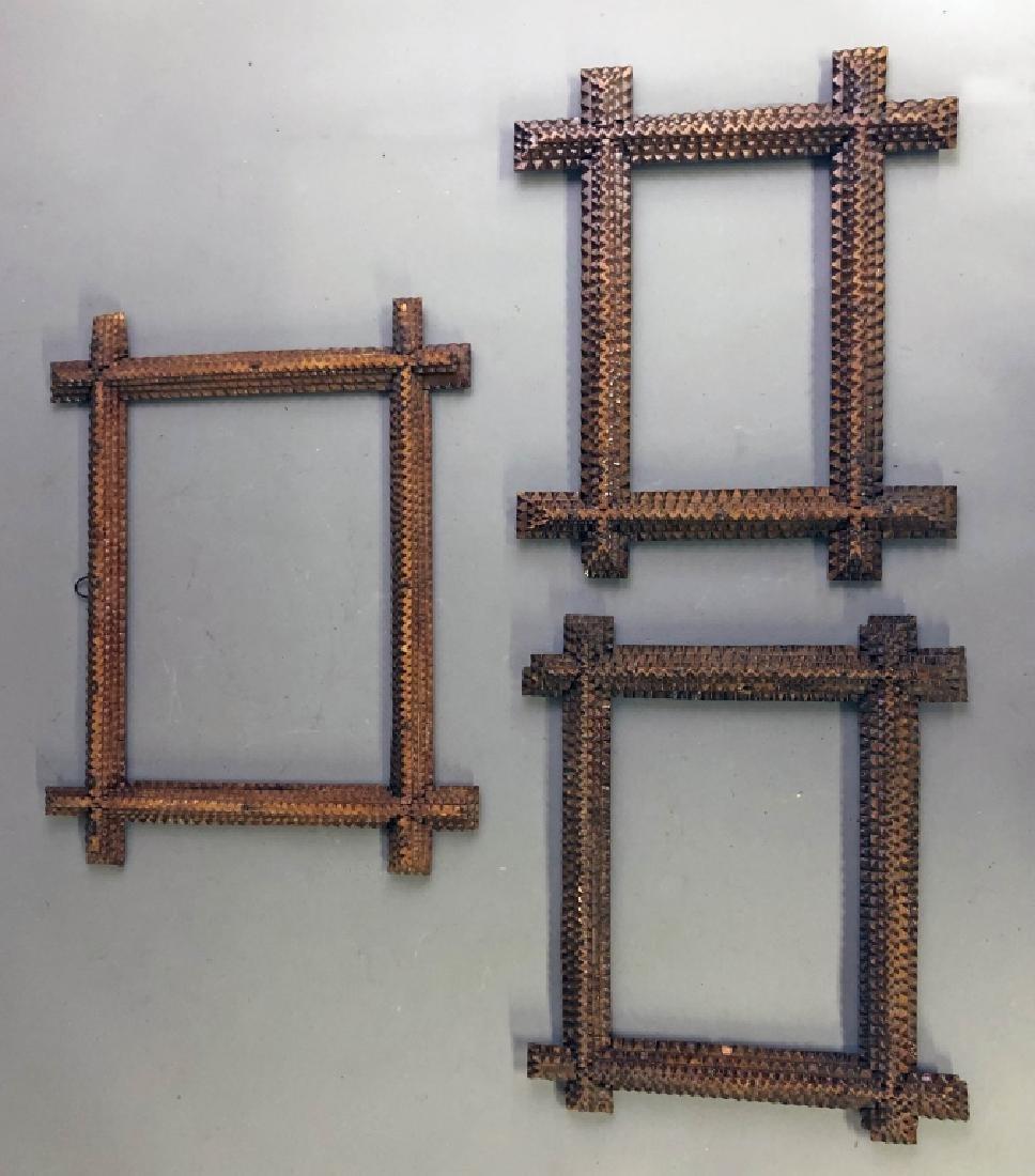 Three Chip Carved Tramp Art Frames