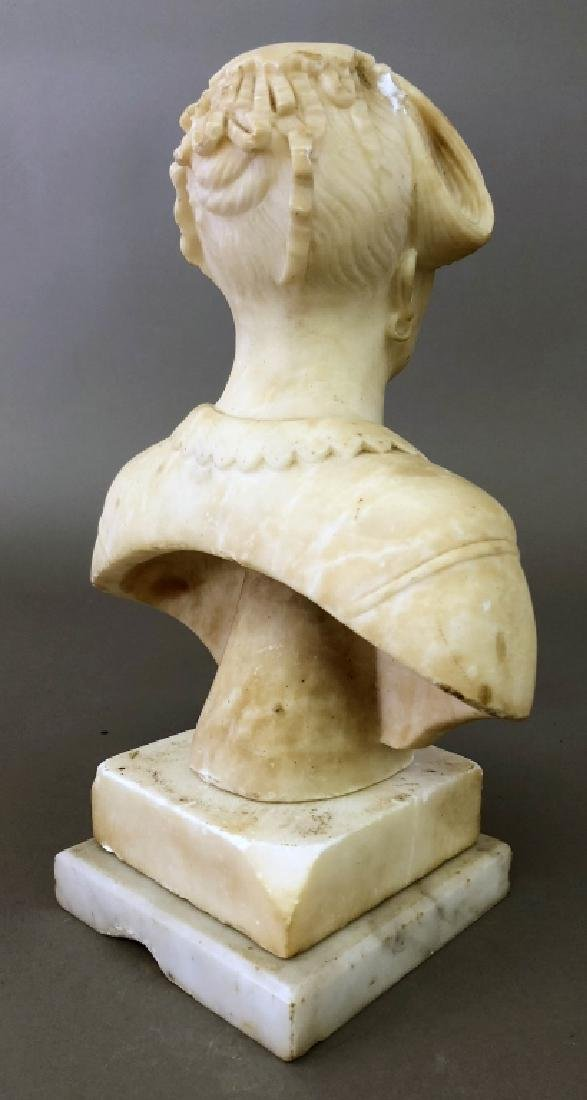 Victorian Carved Alabaster Bust of a Woman - 2