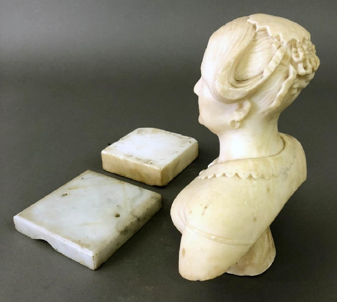 Victorian Carved Alabaster Bust of a Woman - 4