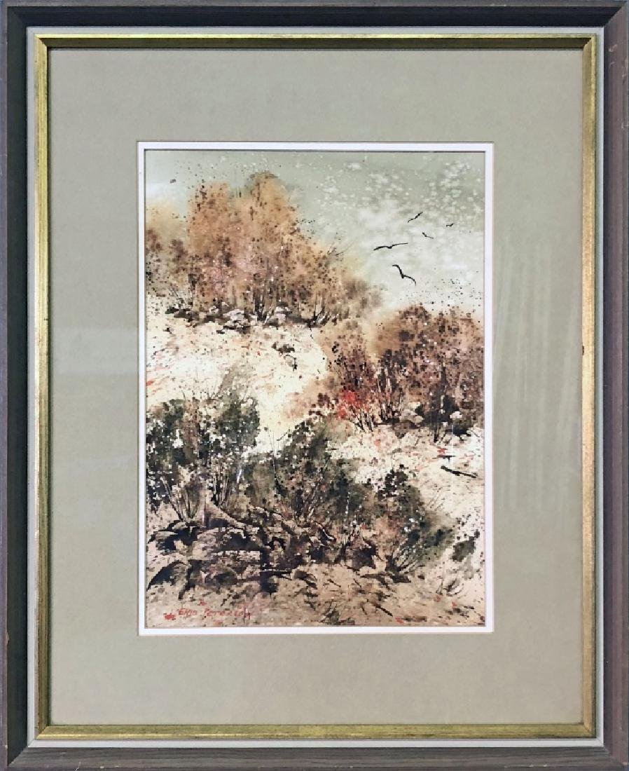 Enid Petersen Signed Autumn Landscape Watercolor
