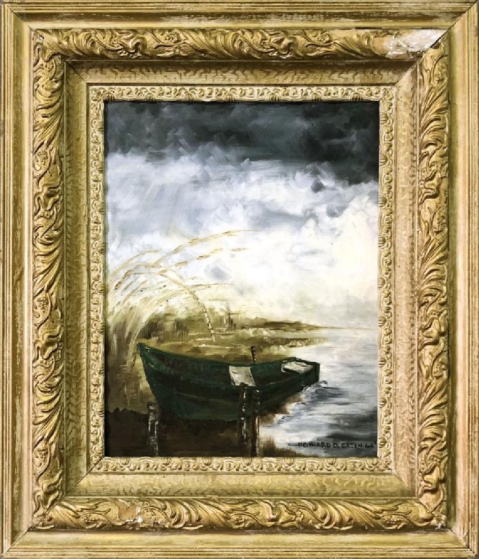 Signed Acrylic on Board of a Rowboat
