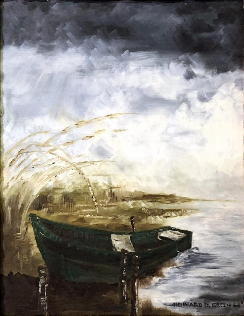 Signed Acrylic on Board of a Rowboat - 2