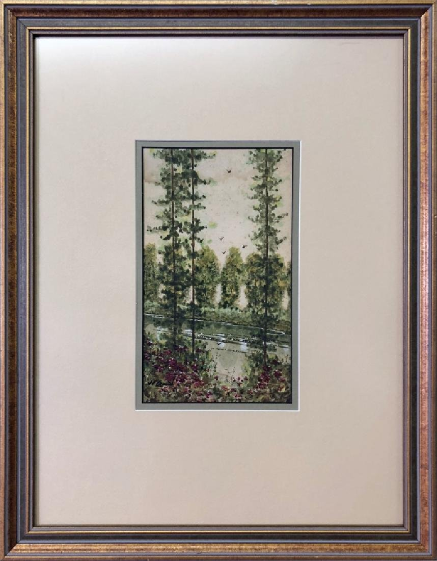 J.F. Cronin Signed Watercolor of Trees and a Creek