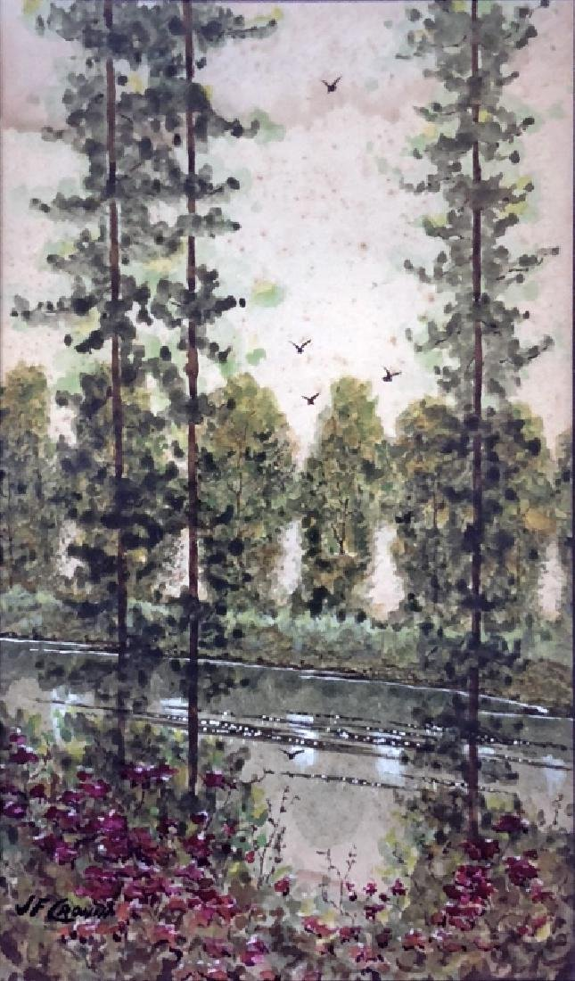 J.F. Cronin Signed Watercolor of Trees and a Creek - 2