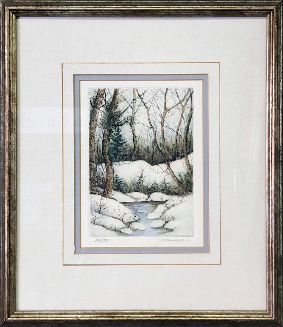 Signed Color Print of a Wooded Stream