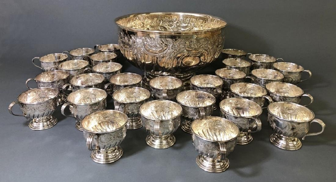 Sheffield Silverplate Punch Bowl and Cups
