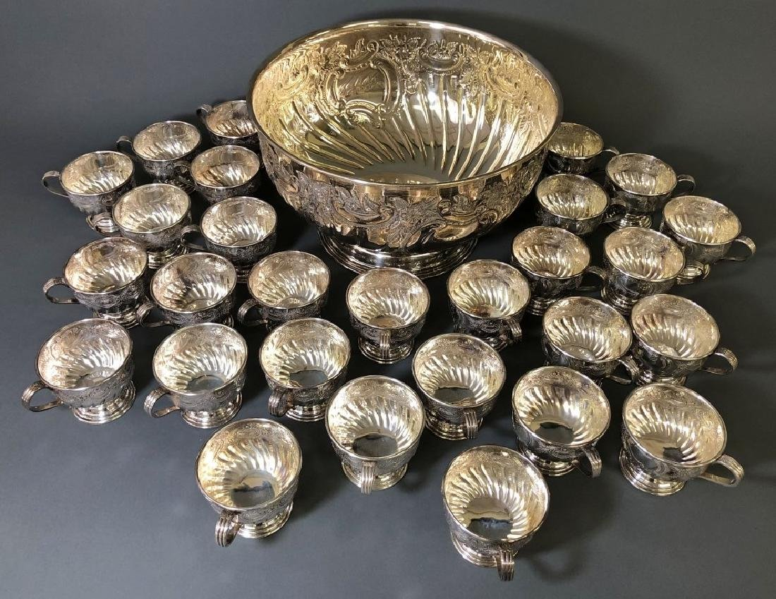 Sheffield Silverplate Punch Bowl and Cups - 2