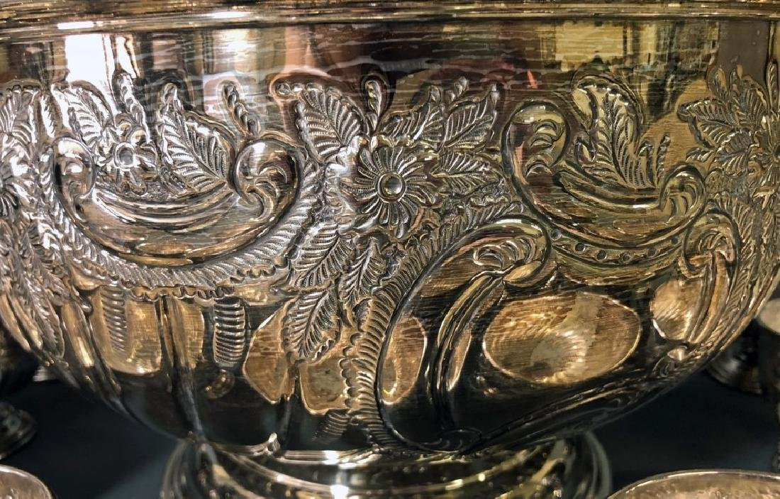Sheffield Silverplate Punch Bowl and Cups - 3