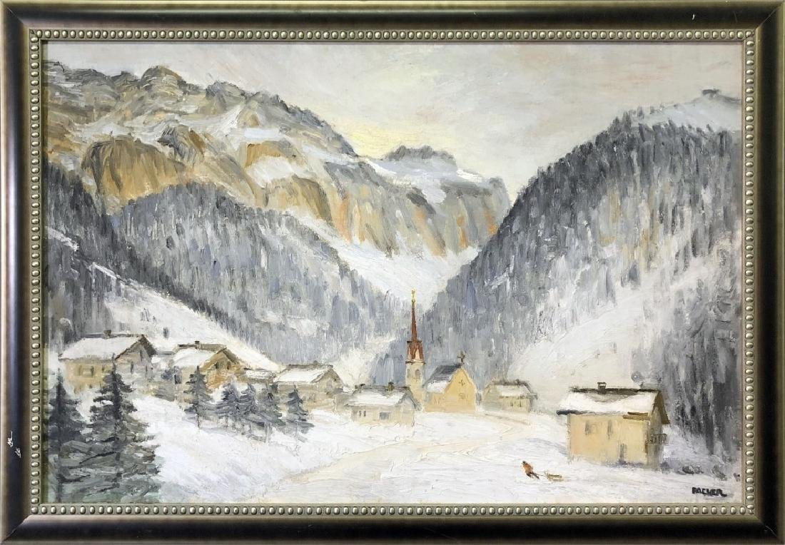 Richard Packer Oil on Board of Mountain Village