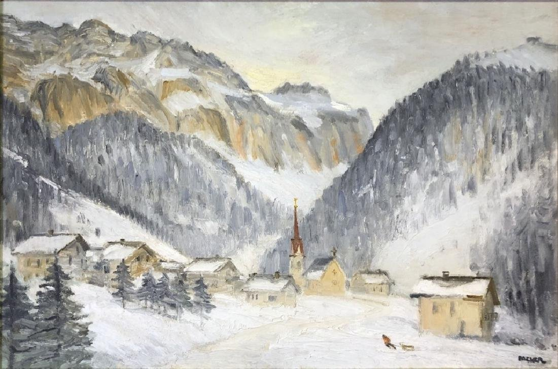 Richard Packer Oil on Board of Mountain Village - 2