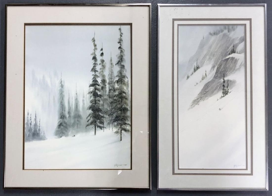 Two Bill Alexander Watercolors of Skiers on Slopes