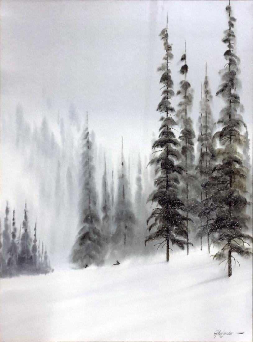 Two Bill Alexander Watercolors of Skiers on Slopes - 2