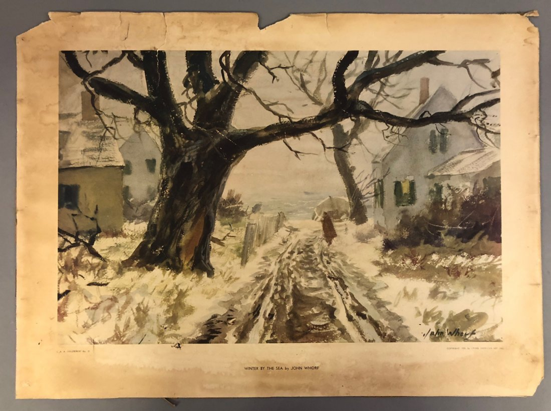 """John Whorf Print """"Winter by the Sea"""" - 7"""