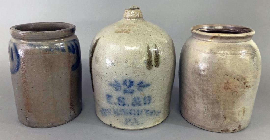 Stoneware Jug and Two Crocks