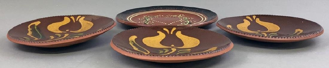 Four Redware Plates - 3