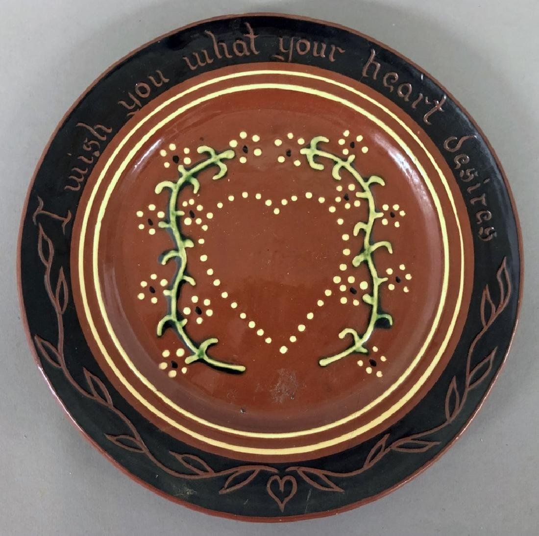 Four Redware Plates - 4