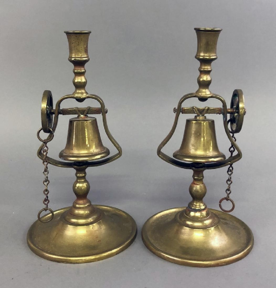Reproduction Brass Bell Tavern Candlesticks
