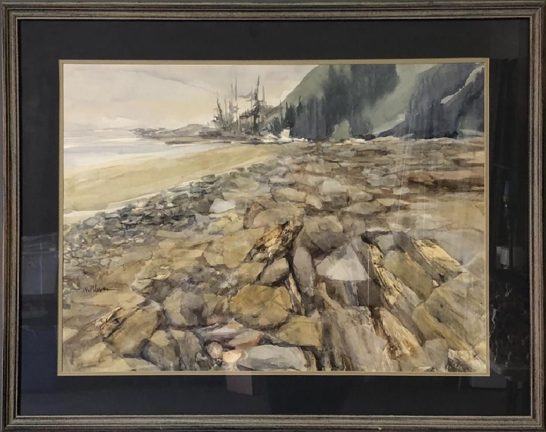 Signed Watercolor of a Rocky Shoreline