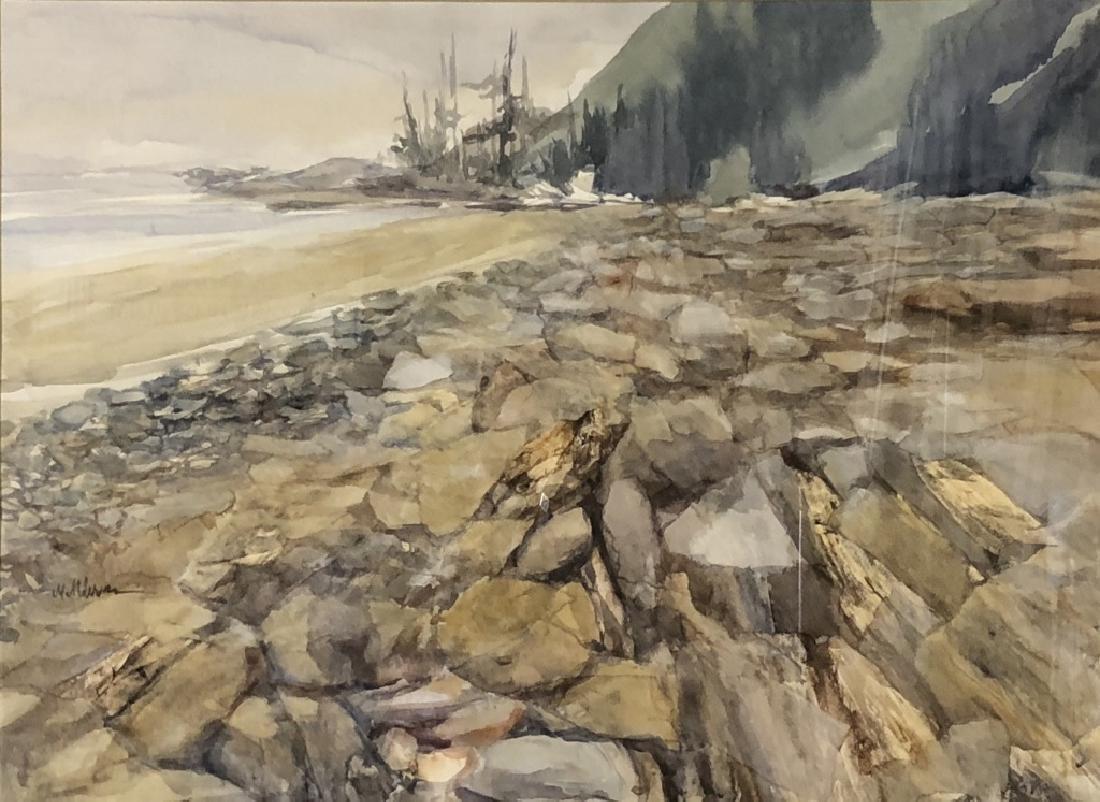 Signed Watercolor of a Rocky Shoreline - 2