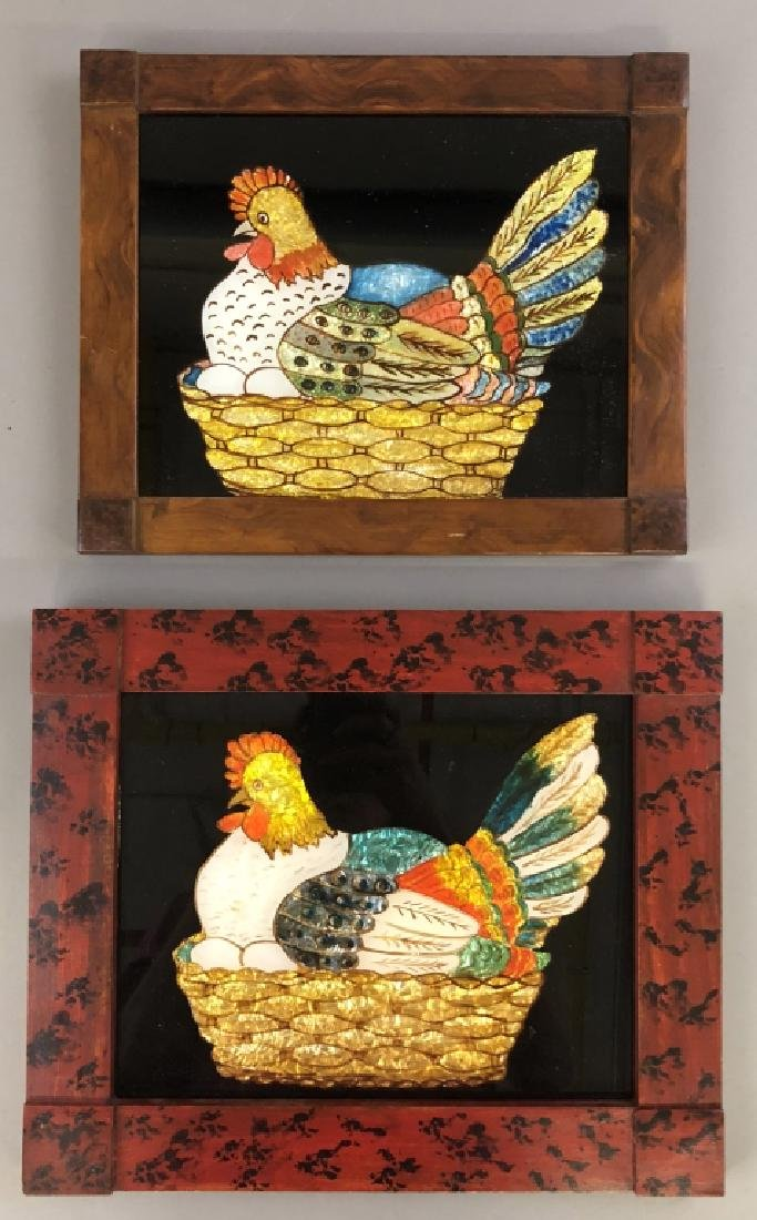 Two Framed Chicken Tinsel Works