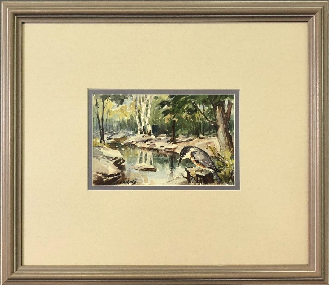 A. Bierhals Watercolor of a Bird and Wooded Stream