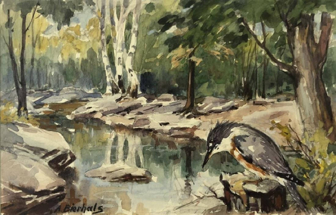 A. Bierhals Watercolor of a Bird and Wooded Stream - 2