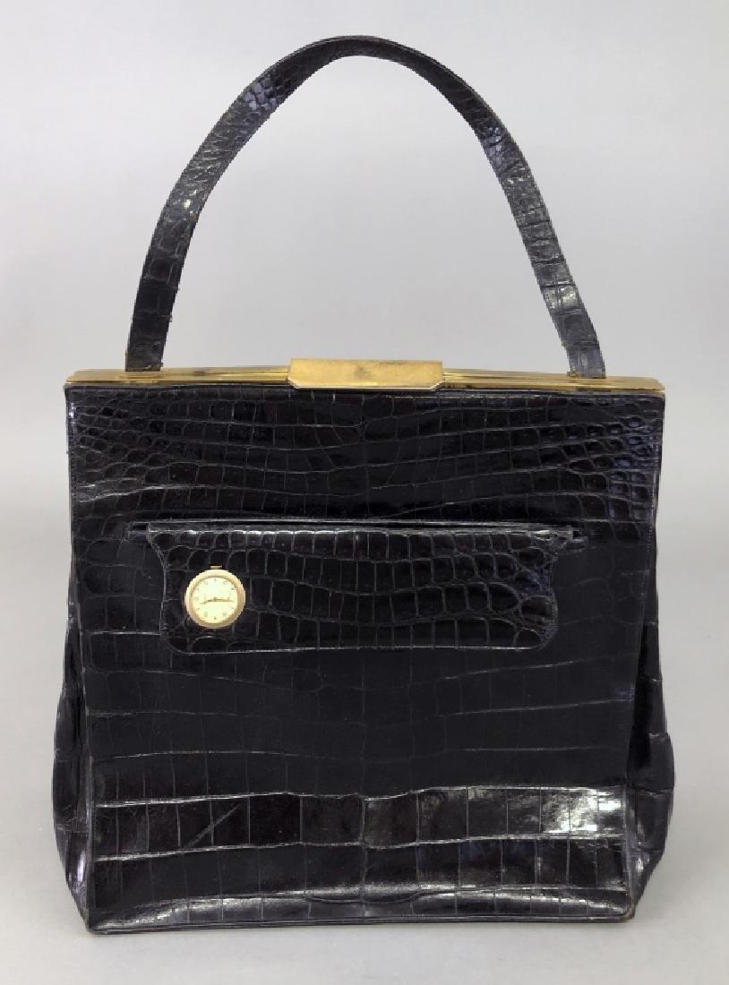 Vintage Koret Black Alligator Travel Bag